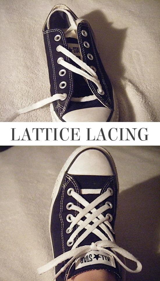 lattice lacing, lattice shoe lacing