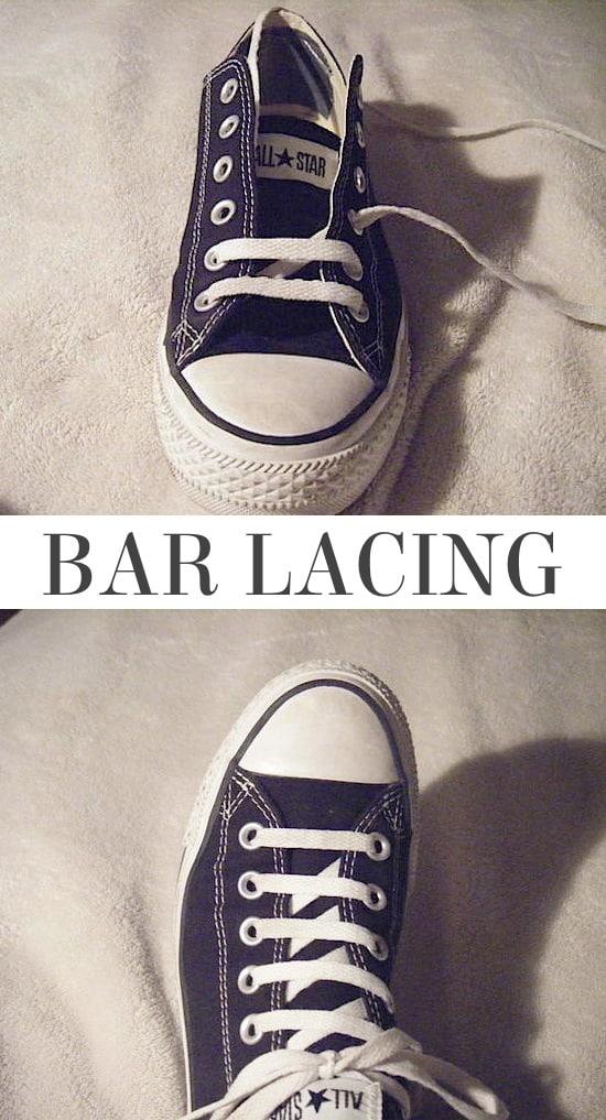 style bar lacing, bar lacing, bar shoe lacing